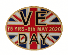 VE Day Victory in Europe 75 Years Commemorative Oval Pin Badge